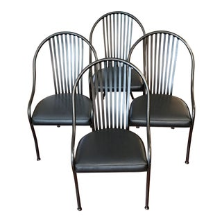 Shaver Howard Black Metal Windsor Bow Back Armchairs - Set of 4