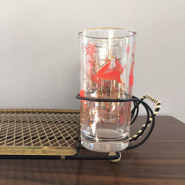 Mid-Century Metal 6-Glass Serving Tray - Image 9 of 11