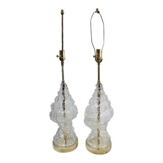 1970s Italian Glass Conch Shell Lamps - A Pair