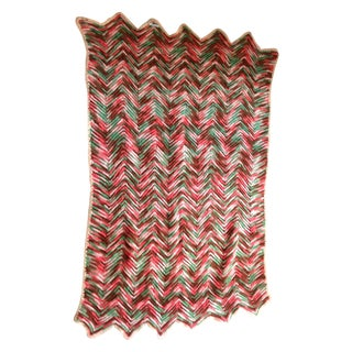 Hand Knitted Zig Zag Wool Throw