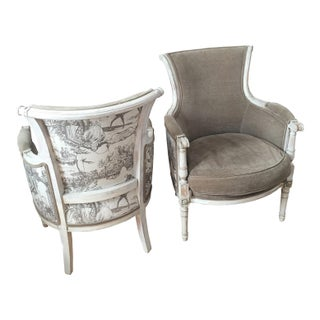 Antique French Gray Velvet Berger Chairs - A Pair
