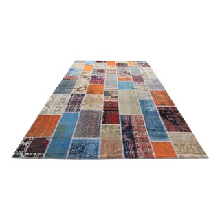 Vintage Turkish Overdid Multi-Colored Patchwork Distressed Rug - 8′2″ × 11′7″