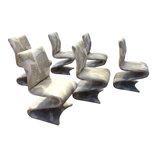 Panton Style Modern Contemporary Z/ Zig Zag Dining Chairs- Set of 6 - Image 1 of 9