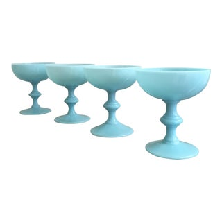Blue Opaline Champagne Glasses - Set of 4