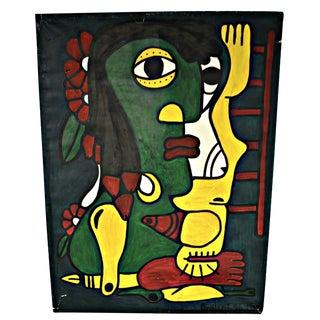 Acrylic on Cardboard Neo-Cubist Cuban Painting