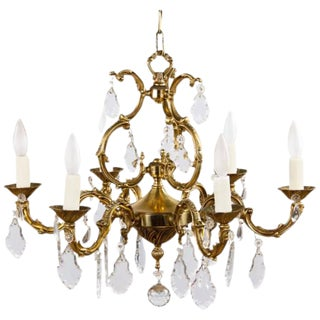 Louis XV Style Gilded Bronze Chandelier, 1940s