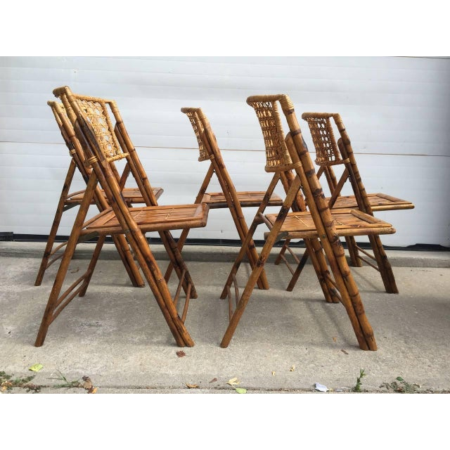 Scorched Bamboo Frame Folding Chairs - Set of Five - Image 5 of 9