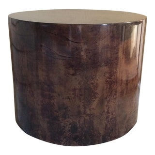Karl Springer Style Lacquered Goatskin Drum Side Table