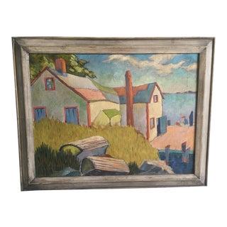 WPA Era Lake Cottage Oil on Canvas Painting