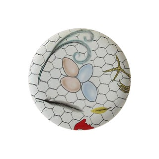 Fornasetti-Style Hand Painted Porcelain Wall Plate