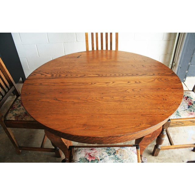 Farm Table Dining Set: Antique Clawfoot Farm Table Dining Set