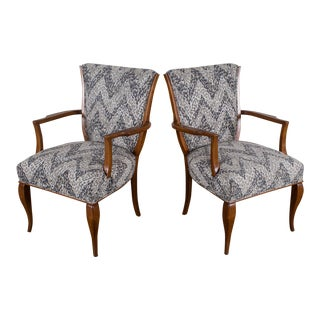 Pair of Vintage French Art Deco Beechwood Chairs circa 1940