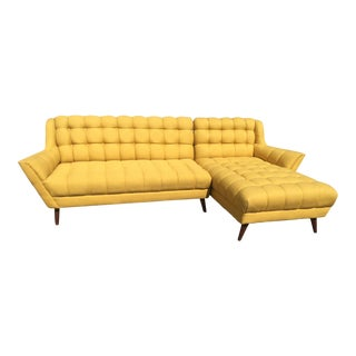 Bright Yellow Mid-Century Sectional Sofa