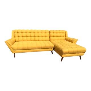 Bright Yellow Mid-Century Sectional Sofa