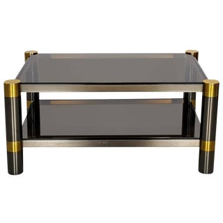 Karl Springer Coffee Table in Rare Gunmetal and Gold Tone Finish, Signed, 1970s