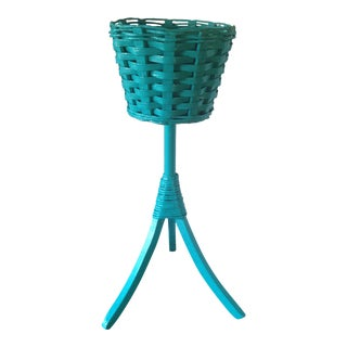 Vintage Turquoise Wicker Plant Stand