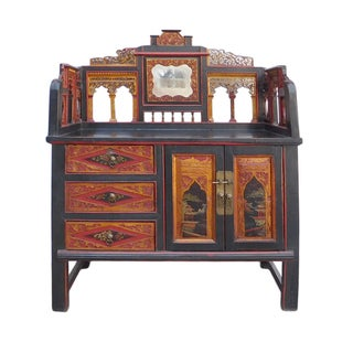 Red & Black Fujian Carving Cabinet