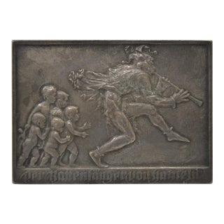 The Pied Piper of Hameln by Karl Perl Bronze Medallion c.1910