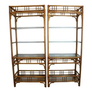 Vintage McGuire Style Rattan Display Shelf Etageres - A Pair
