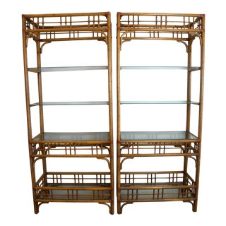 Vintage McGuire Style Rattan Display Shelf Etageres - A Pair
