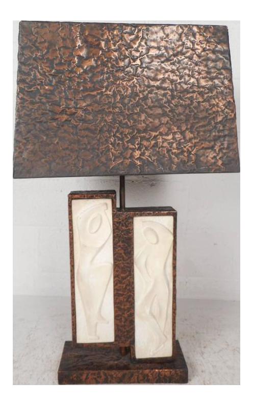 Unique Mid Century Modern Textured Copper Table Lamp