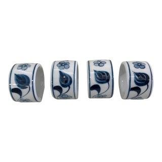 Vintage Blue and White Ceramic Napkin Rings -Set of 4