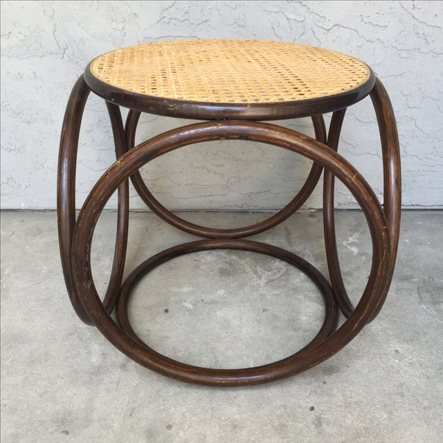 MCM Thonet Bentwood & Cane Ottoman or Side Table - Image 3 of 10