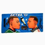 """Image of Blue """"Extra-O"""" Hand-Painted Barber Shop Sign"""