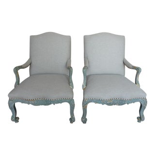 Painted French Rococo-Style Armchairs - A Pair