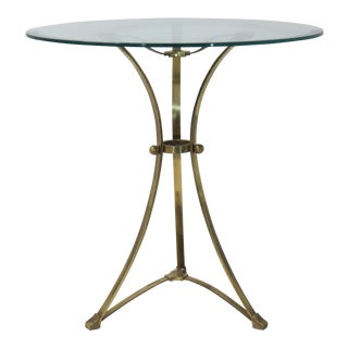 Brass & Glass Tripod Accent Table