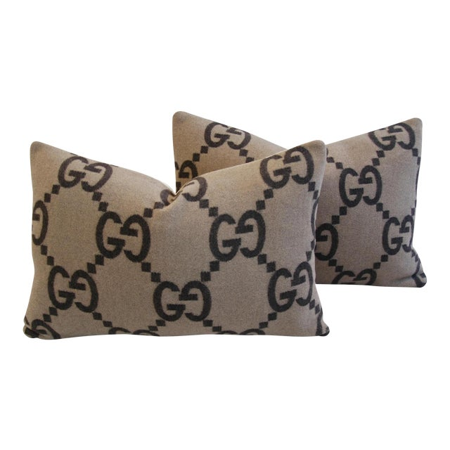 """23"""" X 16"""" Custom Tailored Gucci Cashmere & Velvet Feather/Down Pillows - Pair - Image 1 of 11"""