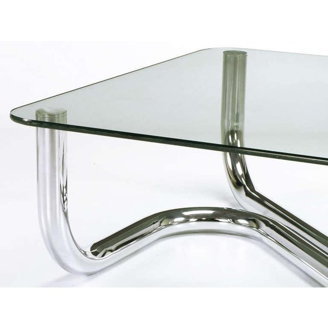Sinuous Chrome and Glass Coffee Table - Image 6 of 7