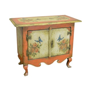 Colonial Brazil Rustic Hand Painted Console Cabinet w/ Butterflies