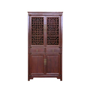 Vintage Chinese Cabinet with Latticework Doors