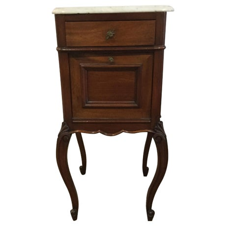 Antique Marble Top Walnut Nightstand - Image 1 of 10