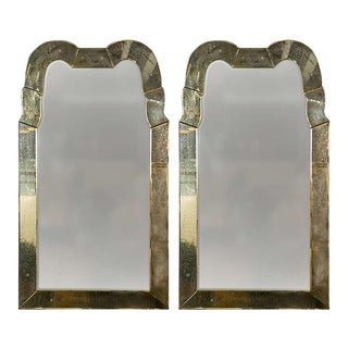 Queen Anne Style Venetian Glass Mirrors - A Pair