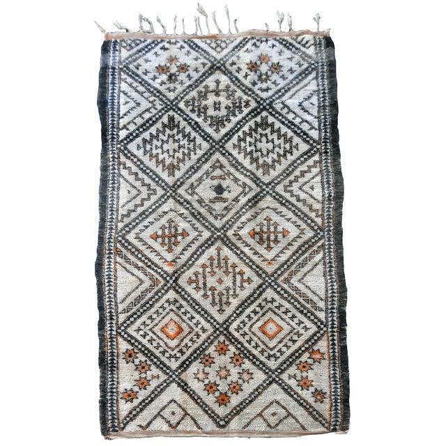 """Moroccan Azilal Orange Diamond Rug - 10'6"""" x 5'9"""" - Image 1 of 4"""