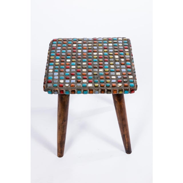 Tiled Teak Side Tables - A Pair - Image 4 of 6