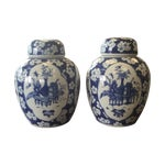 Image of Antique Chinese Porcelain Covered Jars - A Pair