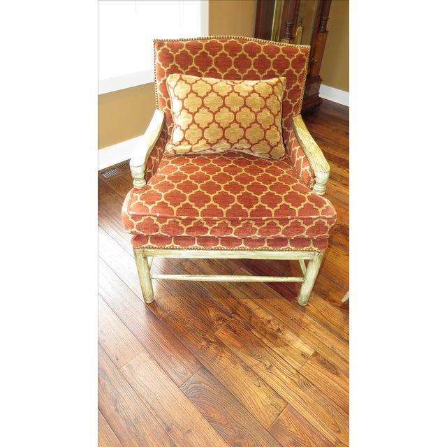 Orange quatrefoil living room chair chairish for Orange living room chairs