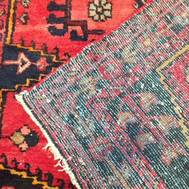 Vintage Hand-Knotted Red Rug - 3′8″ × 4′10″ - Image 6 of 6