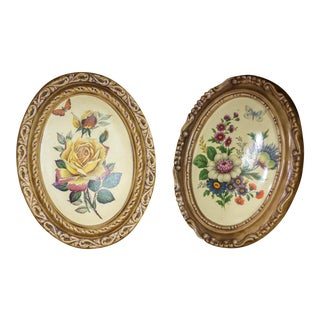 Vintage Hand Painted Ceramic Floral Wall Plaques -a Pair