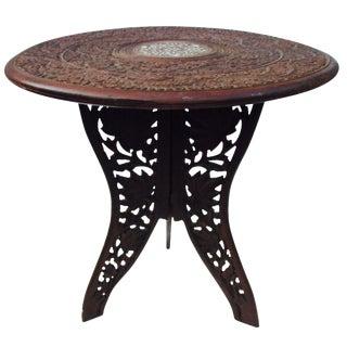 Vintage Moroccan Carved Teak Side Table