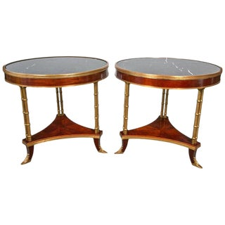 Pair of Maison Jansen Style Marble-Top Bamboo Form Bouillotte Tables