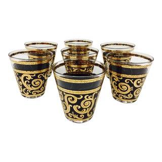 Vintage Black & Gold Culver Cocktail Glasses - Set of 7