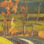 Image of Vintage 1960 Farmhouse in Autumn Oil Painting