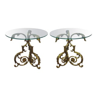 Pair of Decorative Gold Floral Side Tables