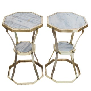Brass and Marble Side Tables - A Pair