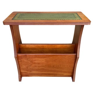 Green Leather Top Magazine Side Table