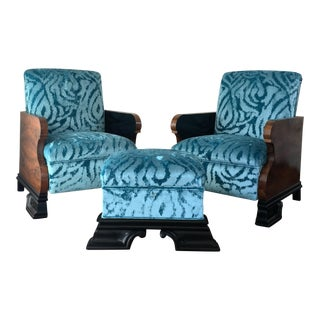 Vintage Art Deco Turquoise Velvet Club Chairs & Ottoman - S/3